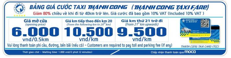 Giá cước Thành Công Taxi Quảng Ninh