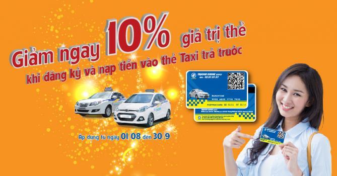 Giảm ngay 10% giá trị thẻ khi đăng ký và nạp tiền vào thẻ taxi trả trước dành cho khách hàng đi taxi tại Ecopark